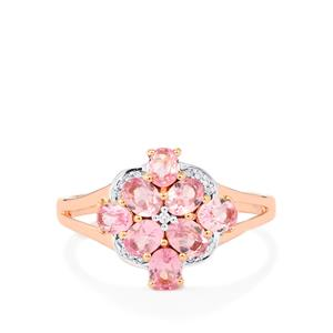 Mozambique Pink Spinel Ring with Diamond in 14K Rose Gold 1.53cts