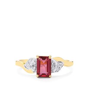Malawi Garnet Ring with Diamond in 14k Gold 1.38cts