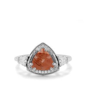 Guyang Sunstone & White Zircon Sterling Silver Ring ATGW 1.76cts