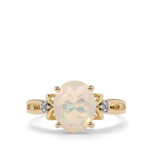 Ethiopian Opal Ring with Champagne Diamond in 10K Gold 1.45cts