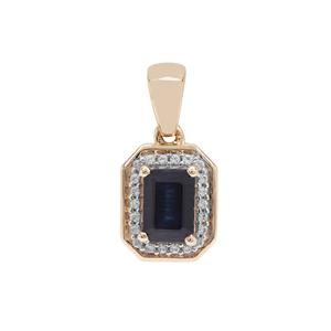 Ethiopian Blue Sapphire Pendant with White Zircon in 9K Gold 1.40cts