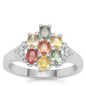 Rainbow Sapphire Ring with White Zircon in Sterling Silver 1.80cts