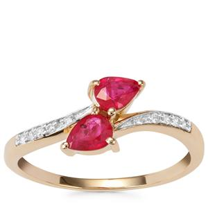 Montepuez Ruby Ring with Diamond in 9K Gold 0.64ct