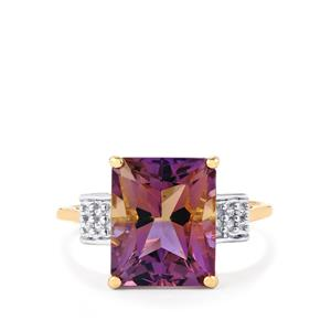 Anahi Ametrine Ring with White Zircon in 9K Gold 4.55cts