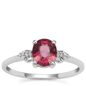 Malawi Garnet Ring with Diamond in 9K White Gold 1.47cts