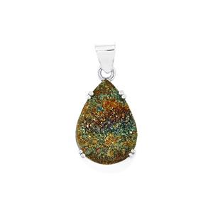 Spectropyrite Drusy Pendant in Sterling Silver 17cts