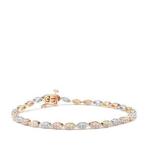 Diamond Bracelet in 9K Three Tone Gold 2ct