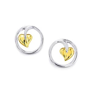 Earrings in Two Tone Gold Plated Sterling Silver