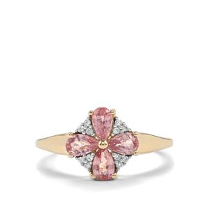 Padparadscha Sapphire Ring with White Zircon in 9K Gold 1.14cts