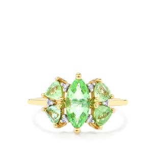 Paraiba Tourmaline Ring with White Diamond in 10K Gold 1.59cts