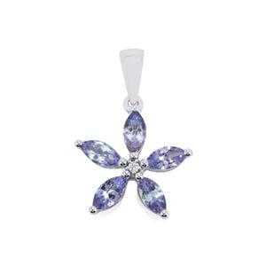 Tanzanite Pendant with White Topaz in Sterling Silver 1.25cts