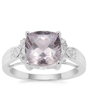 Brazilian Kunzite Ring with White Zircon in Sterling Silver 4.04cts