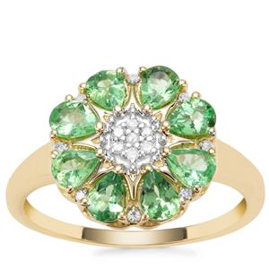 Tsavorite Garnet Ring with Diamond in 9K Gold 1.26cts