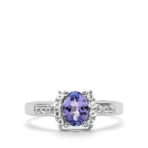 Tanzanite Ring with White Topaz in Sterling Silver 0.98ct