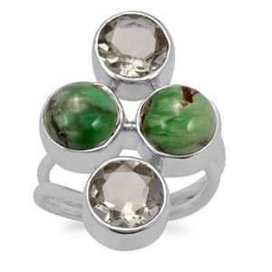 Australian Variscite Ring with Prasiolite in Sterling Silver 9cts