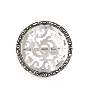 Mother of Pearl Ring with Natural Marcasite in Sterling Silver