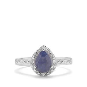 Rose Cut Bharat Blue Sapphire & White Zircon Sterling Silver Ring ATGW 1.65cts