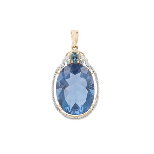 Colour Change Fluorite, London Blue Topaz & White Zircon 9K Gold Pendant ATGW 20.98cts