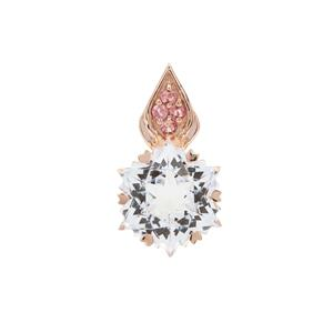 Wobito Snowflake Cut White Topaz Pendant with Pink Tourmaline in 9K Rose Gold 5.65cts
