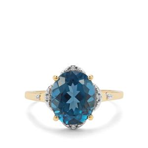 Marambaia London Blue Topaz & White Zircon 9K Gold Ring ATGW 4.48cts