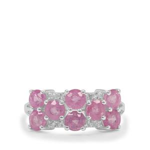 Ilakaka Hot Pink Sapphire Ring with White Zircon in Sterling Silver 3.25cts (F)