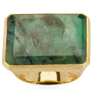 Carnaiba Brazilian Emerald Sarah Bennett Ring in 14K Gold Tone Sterling Silver 25.65cts