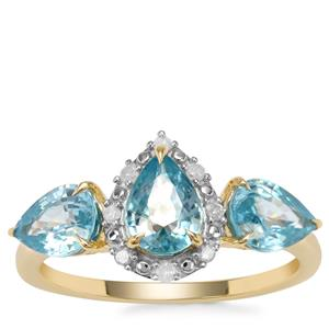 Ratanakiri Blue Zircon Ring with Diamond in 9K Gold 3.40cts
