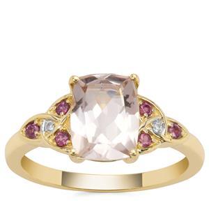 Alto Ligonha Morganite Ring with Rhodolite Garnet and White Zircon in 9K Gold 1.93cts