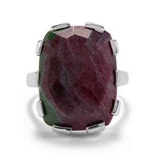 17.32ct Ruby-Zoisite Sterling Silver Ring