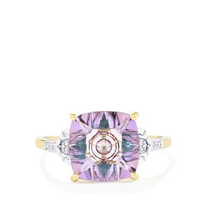 Lehrer KaleidosCut Rose Topaz, Zambian Emerald Ring with Diamond in 9K Gold 4.21cts