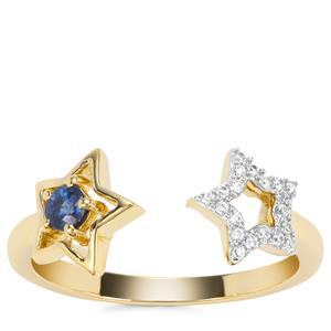 Natural Nigerian Blue Sapphire Star Ring with White Zircon in 9K Gold 0.26ct