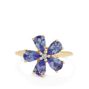 AA Tanzanite & White Zircon 10K Gold Ring ATGW 1.98cts