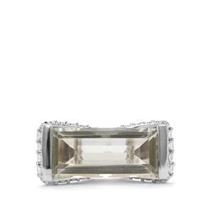 Prasiolite & White Zircon Sterling Silver Ring ATGW 6.04cts