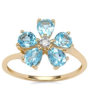 Swiss Blue Topaz Ring with White Zircon in 10K Gold 1.93cts