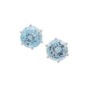 Sky Blue Topaz Earrings in Sterling Silver 5.89cts