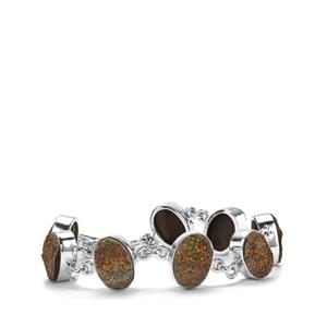Spectropyrite Drusy Bracelet in Sterling Silver 52cts