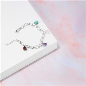 10.61ct Kaleidoscope Gemstone Sterling Silver Bracelet