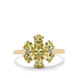 Brazilian Chrysoberyl Ring with White Zircon in 10k Gold 1.41cts
