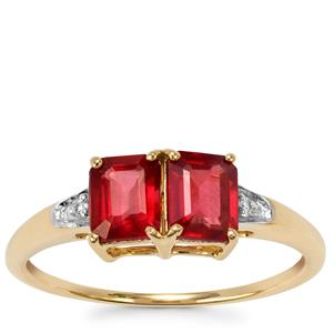 Malawi Garnet Ring with White Zircon in 10k Gold 1.49cts