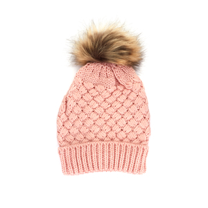 Knitted Bobble Hat With Faux Fur Pom Pom - Pink