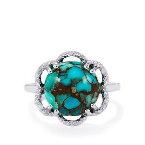 Egyptian Turquoise & Diamond Sterling Silver Ring ATGW 5.67cts