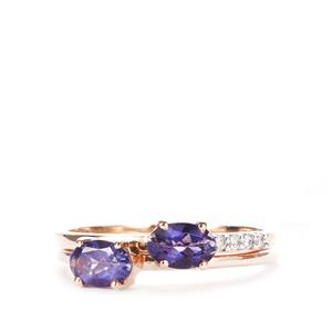 Bengal Iolite Set of 2 Stacker Rings with White Zircon in 10k Gold 0.84cts