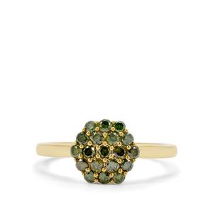2/3ct Green Diamond Gold Tone Sterling Silver Ring
