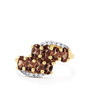 Bekily Color Change Garnet Ring with White Zircon in 10k Gold 2.24cts