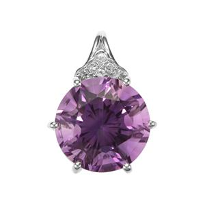 Ametista Amethyst & White Topaz Sterling Silver Cupid Pendant ATGW 6.40cts