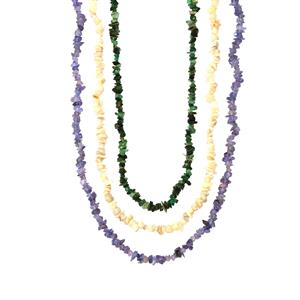 Tanzanite, Emerald Set of 3 with Australian Opal Nugget Bead Necklace 350cts