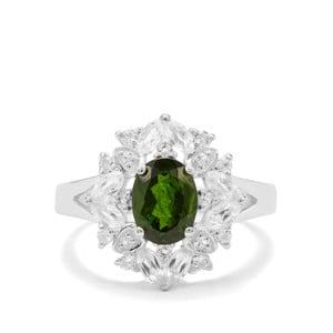 Chrome Diopside & White Topaz Sterling Silver Ring ATGW 2.35cts