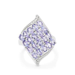 AA Tanzanite & White Topaz Sterling Silver Ring ATGW 3.55cts
