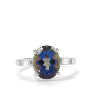 Mystic Blue Topaz & White Zircon Sterling Silver Ring ATGW 4.64cts