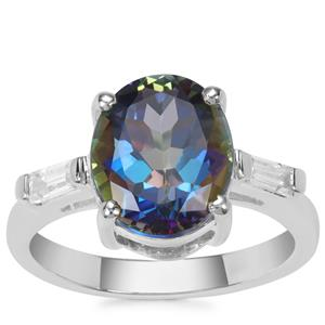 Mystic Blue Topaz Ring with White Zircon in Sterling Silver 4.64cts